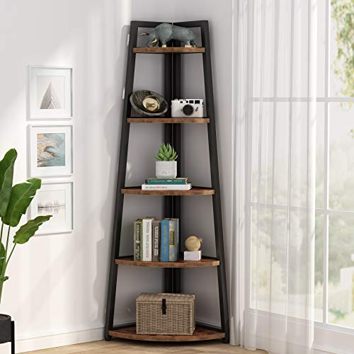 Tribesigns 70 inch Tall Corner Shelf, 5 Tier Rustic Corner Bookshelf Industrial Corner Ladder Shelf Small Bookcase Plant Stand for Living Room, Kitchen, Home Office (Brown)