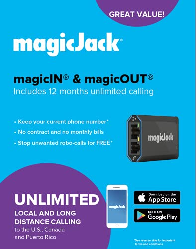 magicJack, 2021 VOIP Phone Adapter, Portable Home and On-The-Go Digital Service. Unlimited Calls to US and Canada. NO Monthly Bill   Featuring magicIN & magicOUT Service