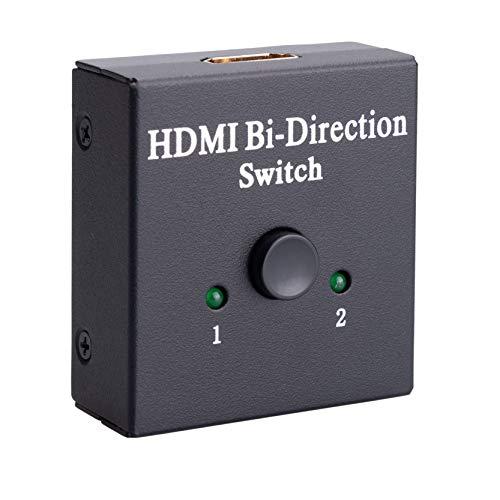 Conmutador Divisor HDMI Switch 2 Salidas Caja bidireccional 1 Puerto de Entrada 2 Puertos de Salida Hub HDMI Soporta HD 4K 3D 1080P Compatible con PC HDTV, BLU-Ray, TV Box, Xbox, PS3, PS4
