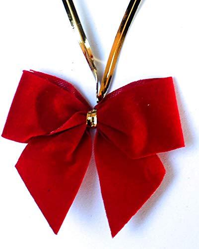 CaPiSo 24 Stück Velour-Schleifen Weihnachtsbaum 6 cm mit Befestigungs-Clip (Velour Rot)