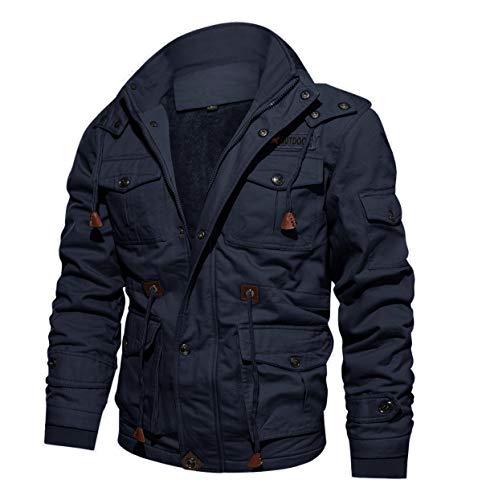 CRYSULLY Men's Multi Cargo Pocket Tactical Safari Jacket Fall Cotton Field Fleece Jacket Navy Blue