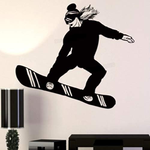 Baobaoshop Mädchen Snowboard Aufkleber Aufkleber Ski Eissport Poster Vinyl Wandtattoo Dekoration Wandbild Auto Snowboard 45 * 51cm Custom