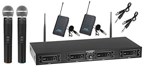 McGrey UHF-2V2I Quad Funk Mikrofon Set mit 50m Reichweite (Wireless Komplettset mit 2 x Handmikrofon, 2 x Lavaliermikrofon, 2 x Taschensender, Instrumentenfunk, 6,3mm Klinke Ausgang) schwarz