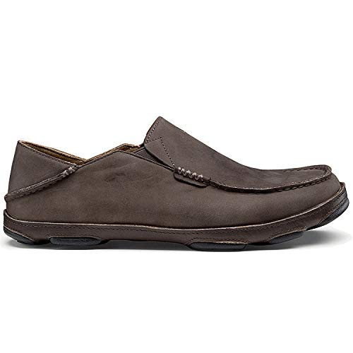 OLUKAI Men's Moloa Slip-on,Dark Wood/Dark Java,US 10.5 M