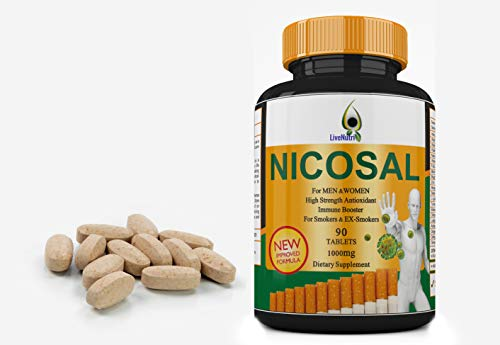 Smokers Vitamin 90 Tablets Nicosal, High Strength Immune Booster for Smokers and Ex-Smokers, Lung Clear, Nicotine Detox 90 Tablets, All-Natural & Affordable