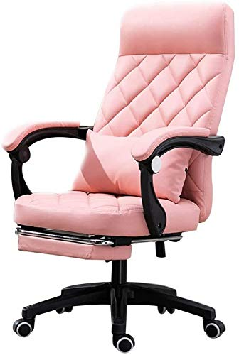WGFGXQ Computer Chair Ergonomic High Backrest Office Chair with Footrest Task Swivel Executive Computer Chair Reclining Height Adjustable Gaming Chair with Lumbar Support (Color : Pink)