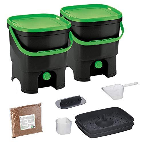Skaza Bokashi Organko Set (2 x 16 L) Composteurs 2X pour Jardin et Cuisine en Plastique Recyclé | Kit de démarrage avec Activateur de Fermentation EM 1 kg (Noir-Vert)