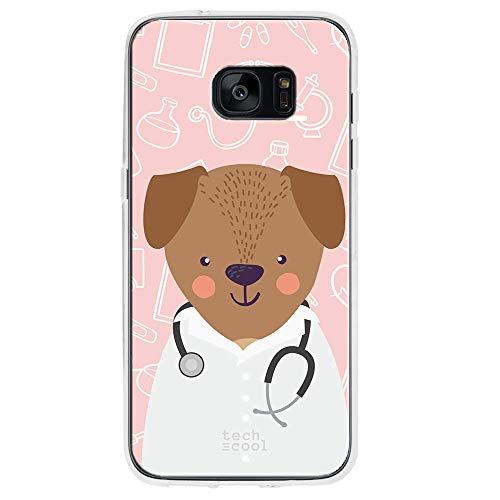 Funnytech Custodia in Silicone (TPU) per Samsung Galaxy S7 Edge [Design Esclusivo, Stampa ad Alta Definizione] Cover, Case [Profesiones Mascotas Médico Fondo]
