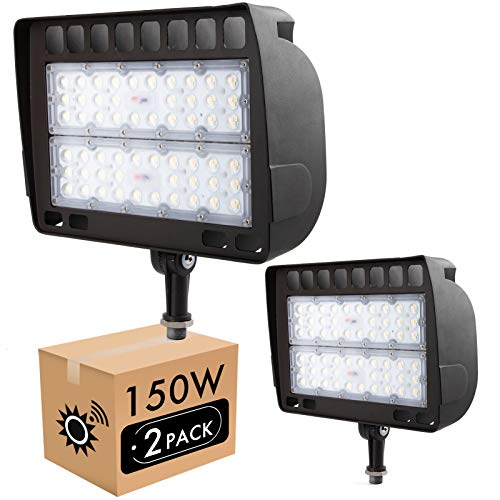 Lightdot 2 Pack 150W LED Outdoor Flood Light with Knuckle, 5000K Daylight, 15000lm Super Bright, Dusk to Dawn Photocell Sensors, IP65 Waterproof Security Light for Gardens Yards and Parking Lot