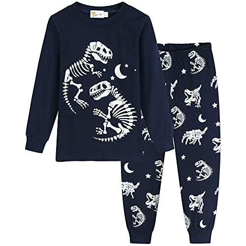 YJWFHPU Jungen Dinosaurier Schlafanzug für Kleinkind Kinder Glühen im Dunkeln Baumwolle Lange Ärmel Schlafanzug für Jungen 92 98 104 110 116 122