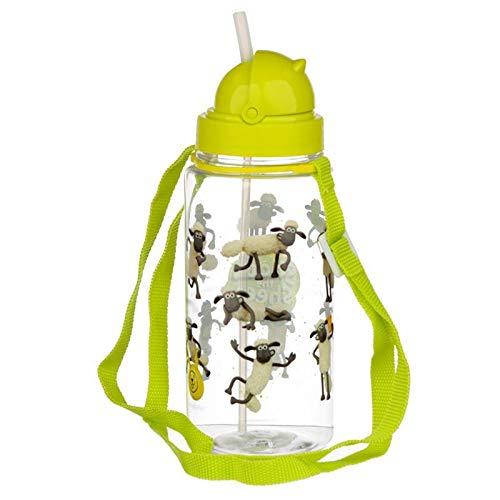 Shaun das Schaf Kinder Wasserflasche Trinkflasche Strohhalm & Tragekordel 450 ml