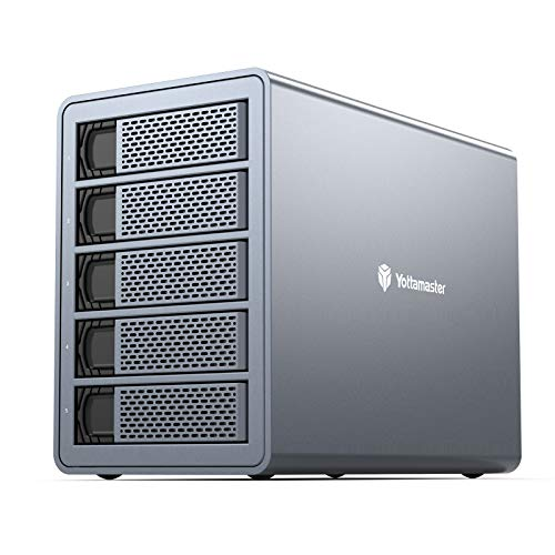 "Yottamaster 5 Bay RAID External Hard Drive Enclosure 2.5"" 3.5"" USB3.0 to SATA HDD SSD Enclosure,Support 80TB & RAID 0/1/5/10/JBOD RAID Mode Hard Drive RAID Storage for NAS Expansion[FS5RU3]"