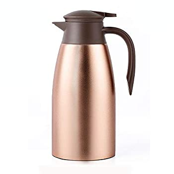 68oz Coffee Carafe Airpot Insulated Coffee Thermos Urn Stainless Steel Vacuum Thermal Pot Flask for Coffee Hot Water Tea Hot Beverage - Keep 12 Hours Hot 24 Hours Cold -Gold