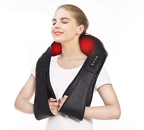 Electric Neck & Back Shiatsu Massager with Heat Deep 4D Kneading Massage, Relieve Muscle Tightness for Neck, Back, Waist, Thigh, Feet, Calf, Arm, Shoulder and Use at Bedroom, Office, Cars