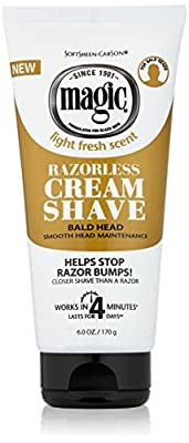 Razorless Shaving Cream for Men by SoftSheen-Carson Magic, Hair Removal Cream, for Bald Head Maintenance, No Razor Needed, Depilatory cream works in 4 Minutes for Coarse Curly Hair, 6 oz
