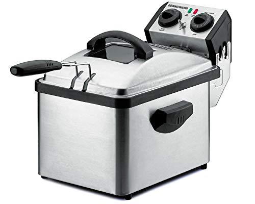 ROMMELSBACHER Kaltzonenfritteuse FRP 2135/E - 3,5 Liter Fassungsvermögen, Temperatur bis 190 °C, Heizelementabdeckung mit Diffusor, 30 Min. Zeitschaltuhr, zur Reinigung komplett zerlegbar, Edelstahl