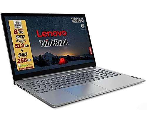 LENOVO THINKBOOK SSD Intel i5 10 th, Display FULL HD 15,6  Ram 8Gb DDR4 , SSD PCIE 512Gb + SSD 256Gb , wifi, Bt, 4 usb ,fingerprint, Win10 Pro, Libre office Pronto, Garanzia e layout Italia