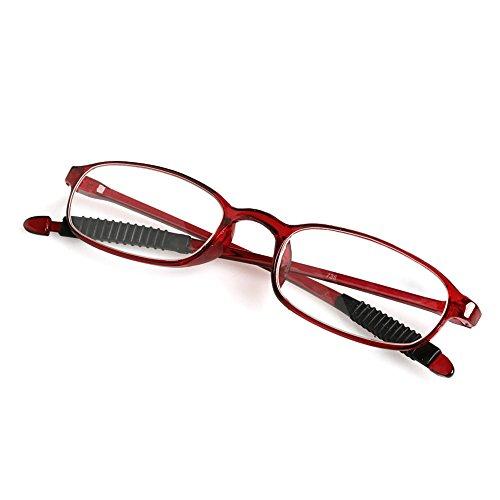 Lagand 1 stuk TR90 vrouwen mannen flexibele leesbril lezer sterkte Presbyopie bril +4,00 bordeauxrood