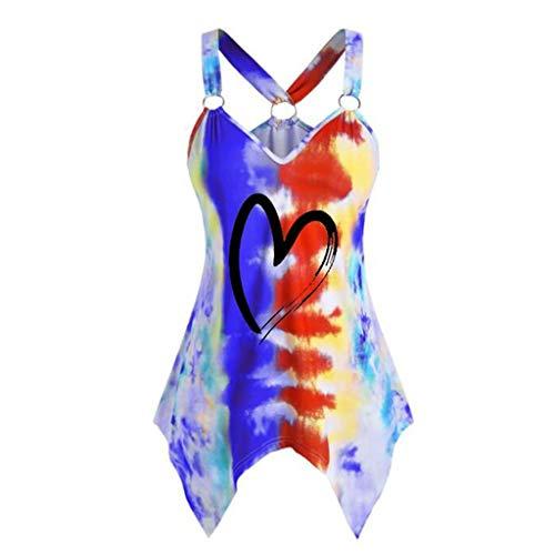 Nyuiuo Blusa en Mujer Verano Señoras Moda sin Mangas Sexy con Cuello en V de Gran tamaño Color Tie-Dye impresión Irregular Anillo Camisola Camiseta Casual al Aire Libre Camiseta