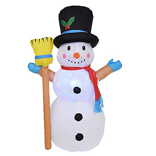 Decdeal Led schneemann Aufblasbar Aufblasbarer Schneemann Beleuchtet Bunt Blinkende Lichter 4 Fuß Selbstaufblasend Langlebig Und Wasserdicht Geeignet für Weihnachtsdekoration