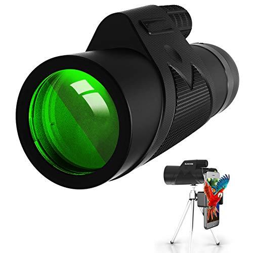 HongHe Telescopios monoculares, 12 x 42 HD Monocular Impermeable monoculo telescopio portatil para Viajes de Caza, Juego de Pelota, Concierto con Adaptador de Soporte para Smartphone y trípode
