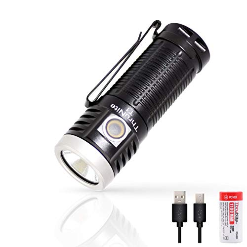 ThruNite T1 Magnetic Tailcap Handheld Flashlights, Rechargeable USB EDC Flashlight, Stepless Dimming 1500 lumens Pocket Flashlight, CREE XHP50, 1100mAh Battery Included - NW