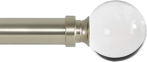 Ivilon Drapery Treatment Window Curtain Rod - Acrylic Ball 1 inch Pole 72 to 144 Inch. Satin Nickel