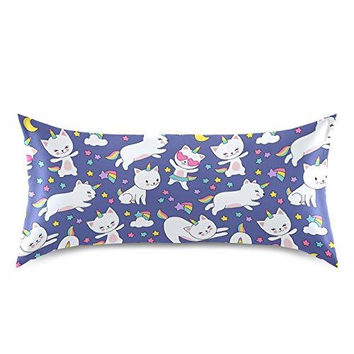 HaJie - Funda de almohada de satén con diseño de estrellas arcoíris y unicornio, gato, 100% poliéster, funda de almohada para cabello y piel, tamaño king de 50,8 x 101,6 cm, 1 unidad