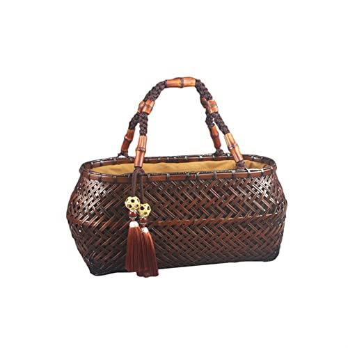 Bolso tejido de bambú hecho a mano,boca de haz de ceremonia de té,bolso retro portátil de las mujeres,bolsa de almacenamiento de canasta de té,productos de bambú for fiesta,compras,camping,citas o jus