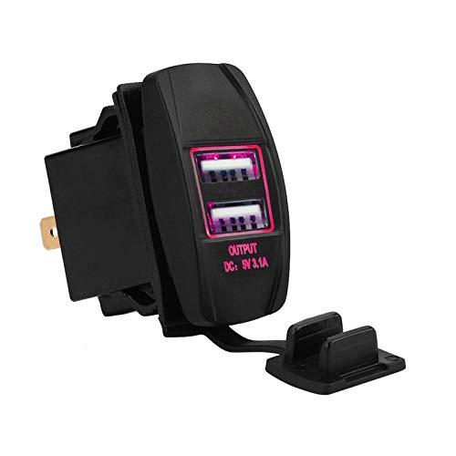 Carga de coche con puertos USB dobles, adaptador de corriente de enchufe a prueba de agua con ajuste LED para coches de 12V-24V 3.1A(rojo)