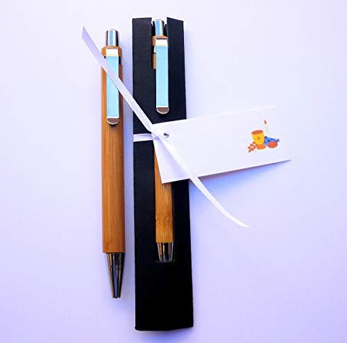 Detalles y Regalos de Comunión Para Invitados - Bolígrafo de Madera de Bambú con Funda para Regalar - Pack 20 unidades - Y lo más Alucinante: ¡¡Escriben Super Bien!!