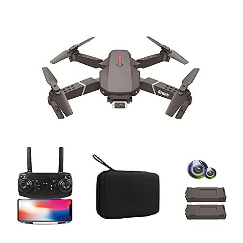 Drone, avión de control remoto aéreo plegable de cuatro ejes de alta definición 4K de doble cámara, batería de larga duración, compacto y portátil, adecuado para principiantes, batería doble gris