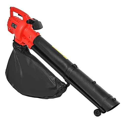 Outsunny Souffleur aspirateur broyeur à Feuilles 3000 W - Sac ramassage 45 L - roulettes & bandoulière - PP Rouge Noir
