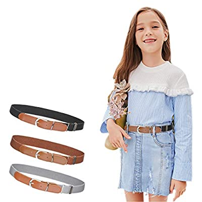 """3Pcs AWAYTR Toddler Belts for Boys - Elastic Adjustable Belt with Brown Leather Loop (Gray/Black/Brown, Pant Size: 20""""-26"""")"""