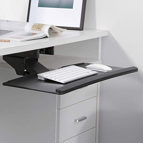 RICOO CZ0200, Tastaturauszug, Unter-Tischmontage, Ausziehbar, Ergonomisch, Schwenkbar, Neigbar, Tastatur-Ablage, Schreibtisch-Halterung, Schwarz