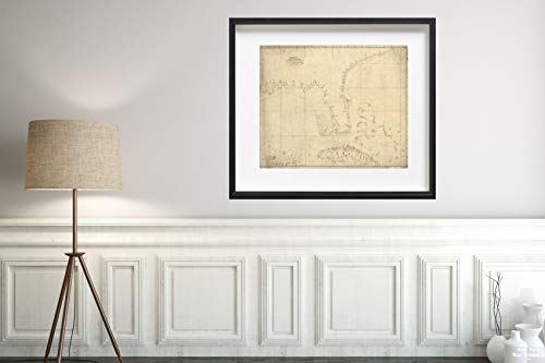 Map|Florida & Cuba 1757 Topographic|Vintage Fine Art Reproduction|Size: 20x24|Ready to Frame