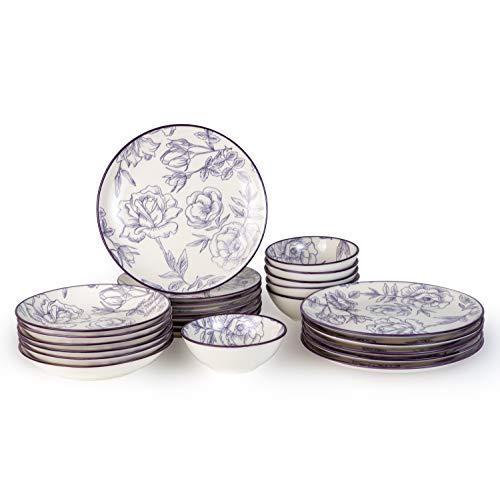 Geschirrset 24-teilig aus Porzellan für 6 Personen | tiefe Suppenteller, flache Essteller, Dessertteller und Schüsseln | Hochwertiges modernes Vintage Tafelservice Kombiservice | Rose - weiß/lila
