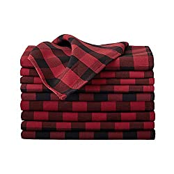 VEEYOO Polyester Checkered Cloth Napkins Set of 12 Pieces Buffalo Plaid Napkins Hemmed Edges Washable Gingham Oversized Dinner Napkins Stain Resistant Table Napkins (17x17 inch, Black & Red Napkins)