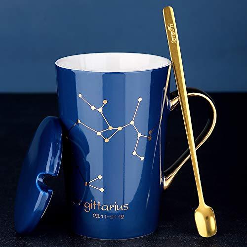 Doinbtoy Europäisches Sternbild Gold mit Keramikbecher mit Decklöffel, Milchkaffeetasse für Männer und Frauen im Haushalt 401-500 ml Schütze - Saphir - vergoldet