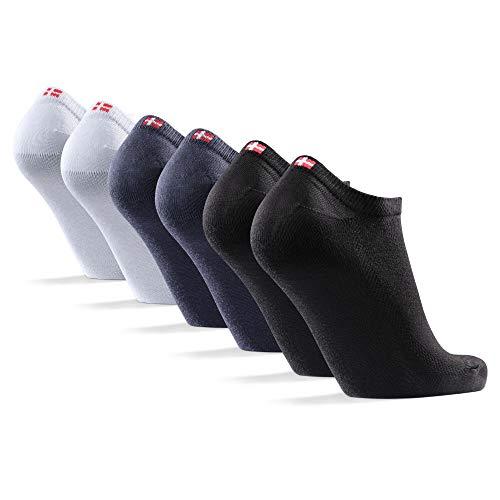 DANISH ENDURANCE 6 Paare Low-Cut Socken für Damen und Herren (Mehrfarbig (2x Schwarz, 2x Grau, 2x Weiß), 39-42)