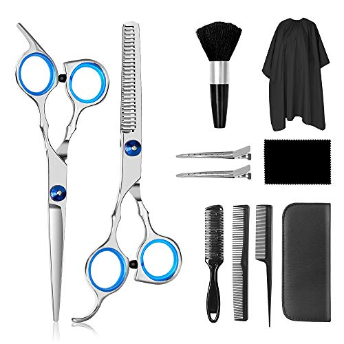 Haarschere Set (11PCS), 2 Extra Scharfe Haarschneideschere mit Etui, Licht Friseurscheren mit Einseitiger Mikroverzahnung, Perfekte Friseurschere für Männer und Frauen