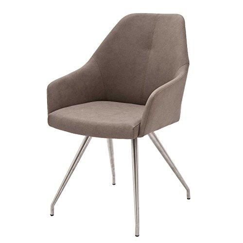 MÖBEL IDEAL Esszimmerstuhl Set 2X Stuh Mita in Beige Schwarz Blau oder Grau Armlehnstuhl mit 4 Fuß Gestell Edelstahl gebürstet