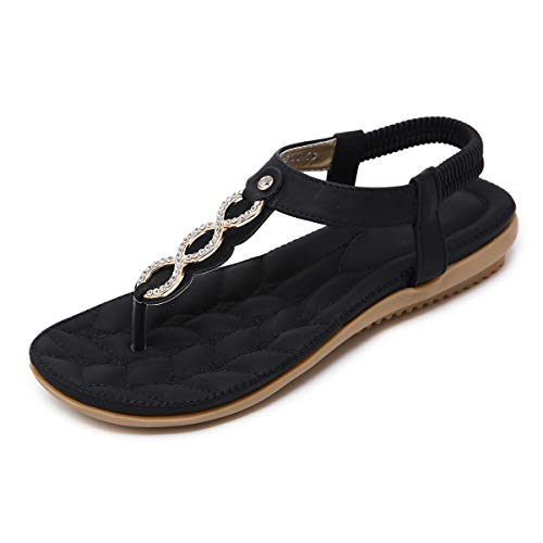 SANMIO Damen Sandals, Frauen Sandalen Sommer Bohemian Strass Flach Sandaletten PU Leder Zehentrenner, Schwarz, 44 EU