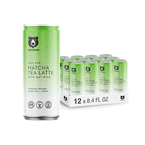 Two Bears Frothed Matcha Tea Oat Milk Latte (12-Pack, 8.5oz Cans) - Nitrogen-Infused Cold Brew Matcha Tea Drink | Convenient, Shelf Stable, Ready-To-Go Can | 100% Vegan, Dairy Free, Gluten Free