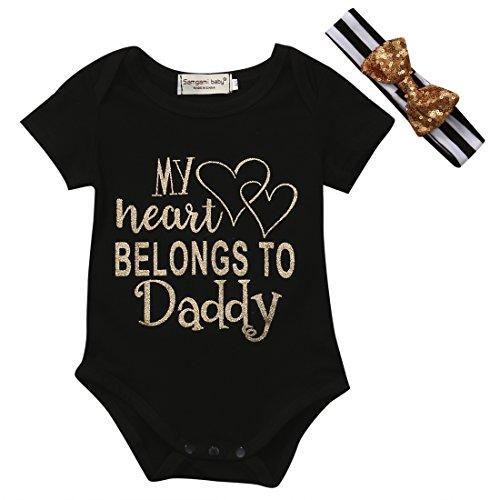 Daddy's Little Princess Infant Bodysuit & Headband Set Cotton Romper Baby Girl One Piece (0-3 Months, My Heart Belongs to Daddy) (Sorry Boys My Heart Belongs To Daddy)