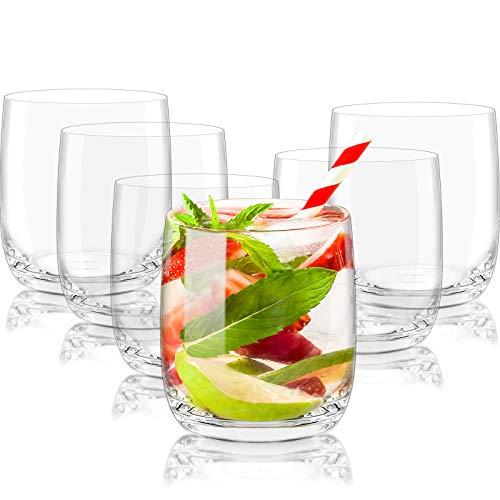 CREATIVELAND Crystal Tumbler Glasses Set of 6 LEAD-FREE CRYSTAL GLASSES,...
