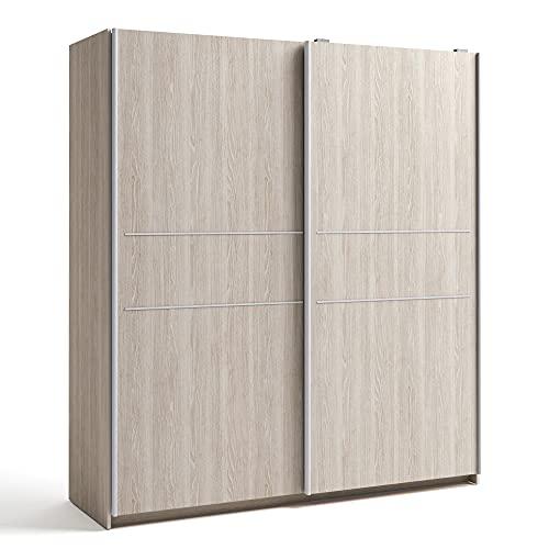 HOMN LIVING Armario ropero Senia 2 Puertas correderas Color Sable, 181,5 cm (Ancho) 53,8 cm (Profundo) 200 cm (Altura)