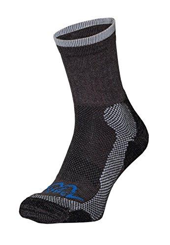 Chaussettes de randonnée Homme en Thermocool et bavlna Active Cotton pour mittelhohe Randonnée Chaussures randonnées Conçu pour les tailles de S à XL (36 à 47), Homme, Schwarz-Grau & Blau