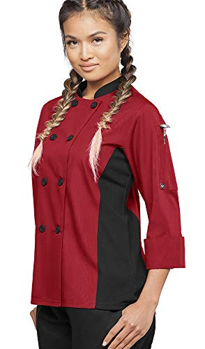 Women's 3/4 Sleeve Chef Coat with Mesh Side Panels (XS-3X, 4 Colors) (Large, Red/Black)
