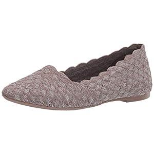Skechers Women's Cleo-Honeycomb Ballet Flat, Dark Taupe, 6 M US